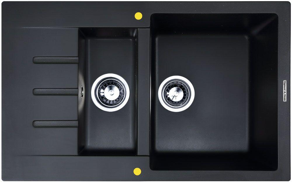 Мойка кухонная Zigmund & Shtain Rechteck 775.2, врезная, 2 чаши, крыло, цвет: черный базальтrechteck645Zigmund & Shtain RECHTECK 775.2, , кухонная мойка, иск.гранит, 2чаши-крыло, форма прямоугольная, глубина-21, Цвет черный базальт