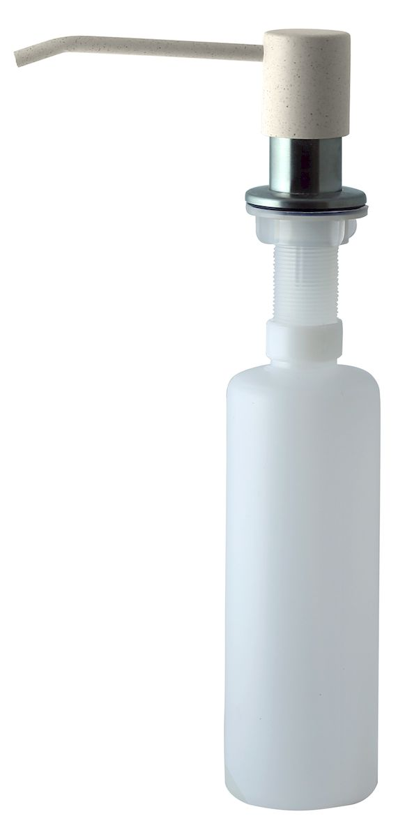 """Диспенсер для моющего средства позволяет с помощью лёгкого нажатия получать необходимое количество жидкости для мытья посуды. Дозатор освобождает пространство столешницы вокруг мойки от бутылочек с моющим средством и делает кухню удобной и красивой. Встраиваемый диспенсер устанавливается в столешницу или кухонную мойку.Корпус емкости под моющее средство и трубка подачи моющего средства выполнены из пластика, что исключает возможность коррозии и разъедания любым моющим средством, применяемым в быту. Диспенсер легко заполняется моющим средством сверху.Объем: 300 мл.Угол поворота: 360°.Диаметр врезного отверстия: 35 мм. Данный диспенсер подходит к кухонной мойке """"Zigmund & Shtain"""" цвета """"молодое шампанское""""."""