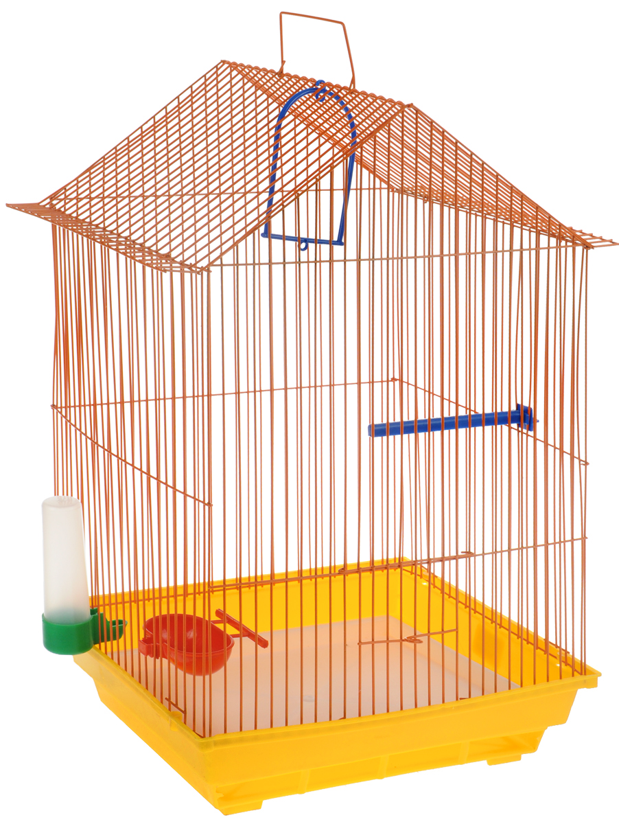 Клетка для птиц ЗооМарк, цвет: желтый поддон, оранжевая решетка, 34 x 28 х 54 см430ЖОКлетка ЗооМарк, выполненная из полипропилена и металла с эмалированным покрытием, предназначена для мелких птиц.Изделие состоит из большого поддона и решетки. Клетка снабжена металлической дверцей. В основании клетки находится малый поддон. Клетка удобна в использовании и легко чистится. Она оснащена жердочкой, кольцом для птицы, поилкой, кормушкой и подвижной ручкой для удобной переноски.