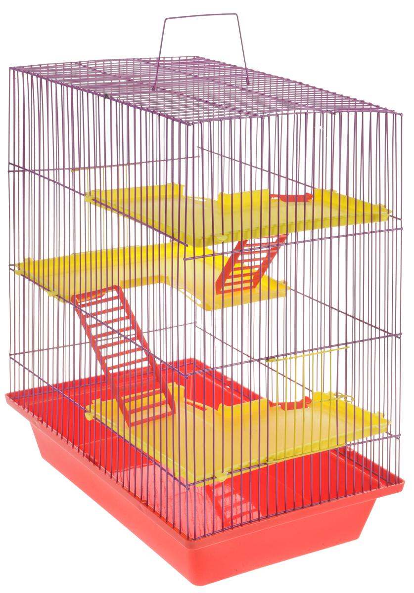 Клетка для грызунов ЗооМарк  Гризли , 4-этажная, цвет: красный поддон, фиолетовая решетка, желтые этажи, 41 х 30 х 50 см