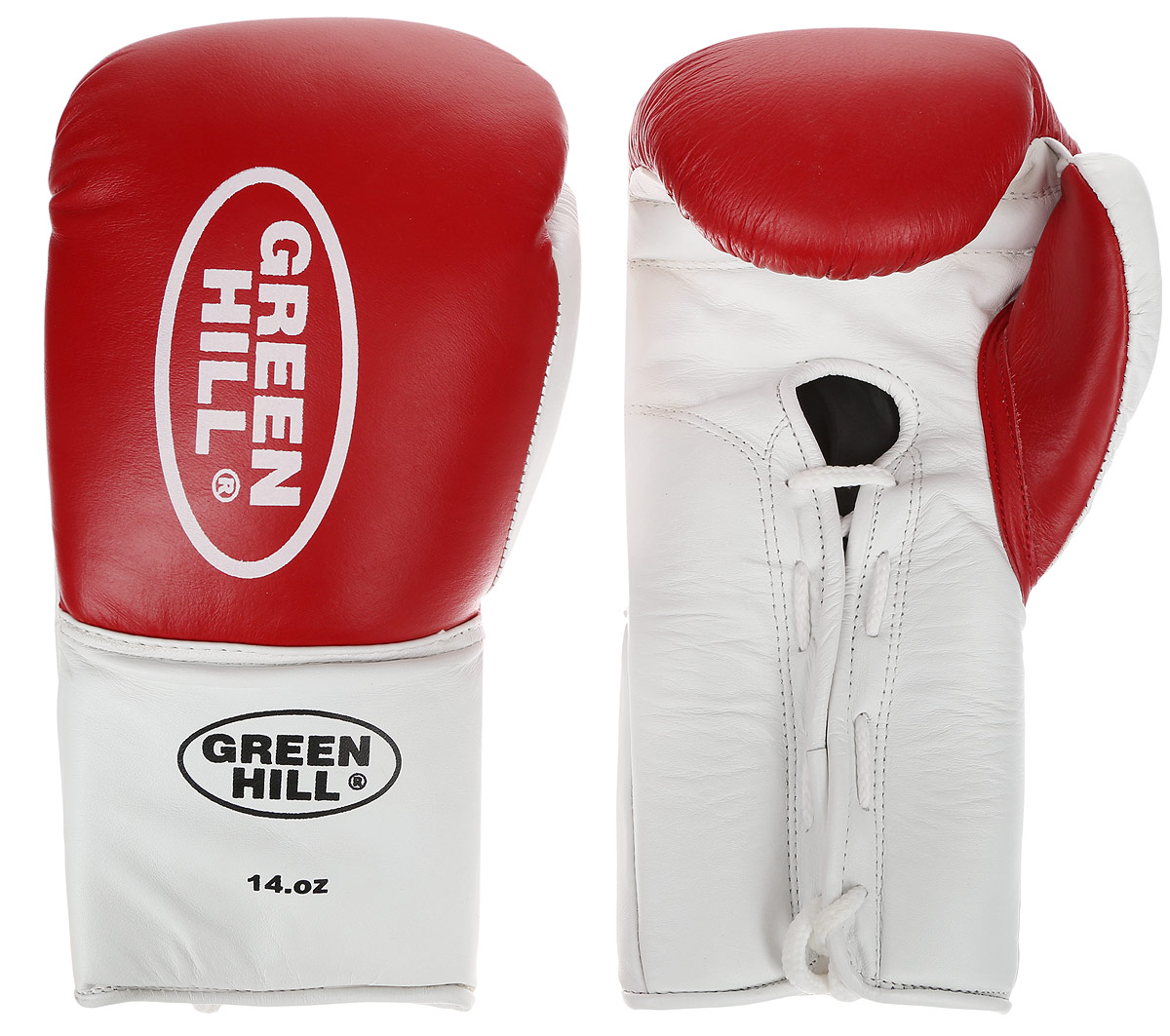 Перчатки боксерские Green Hill Proffi, цвет: красный, белый. Вес 14 унций. BGP-2014KSB-10341Боксерские перчатки Green Hill Proffi предназначены для использования профессионалами. Верх выполнен из натуральной кожи, наполнитель - из вспененного полимера. Отверстие в области ладони позволяет создать максимально комфортный терморежим во время занятий. Манжет на шнуровке способствует быстрому и удобному надеванию перчаток, плотно фиксирует перчатки на руке.
