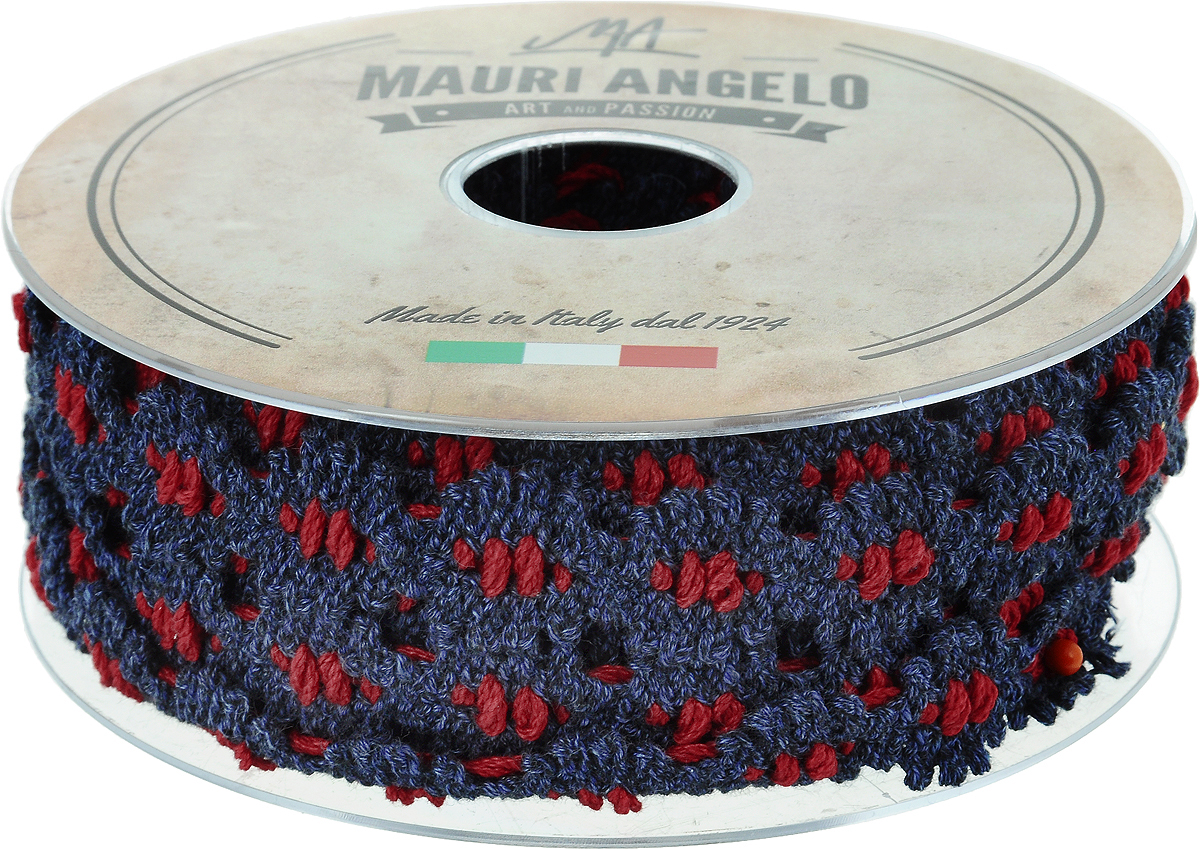 Лента кружевная Mauri Angelo, цвет: синий, красный, 1,7 см х 10 м. MR7211/DE60/211
