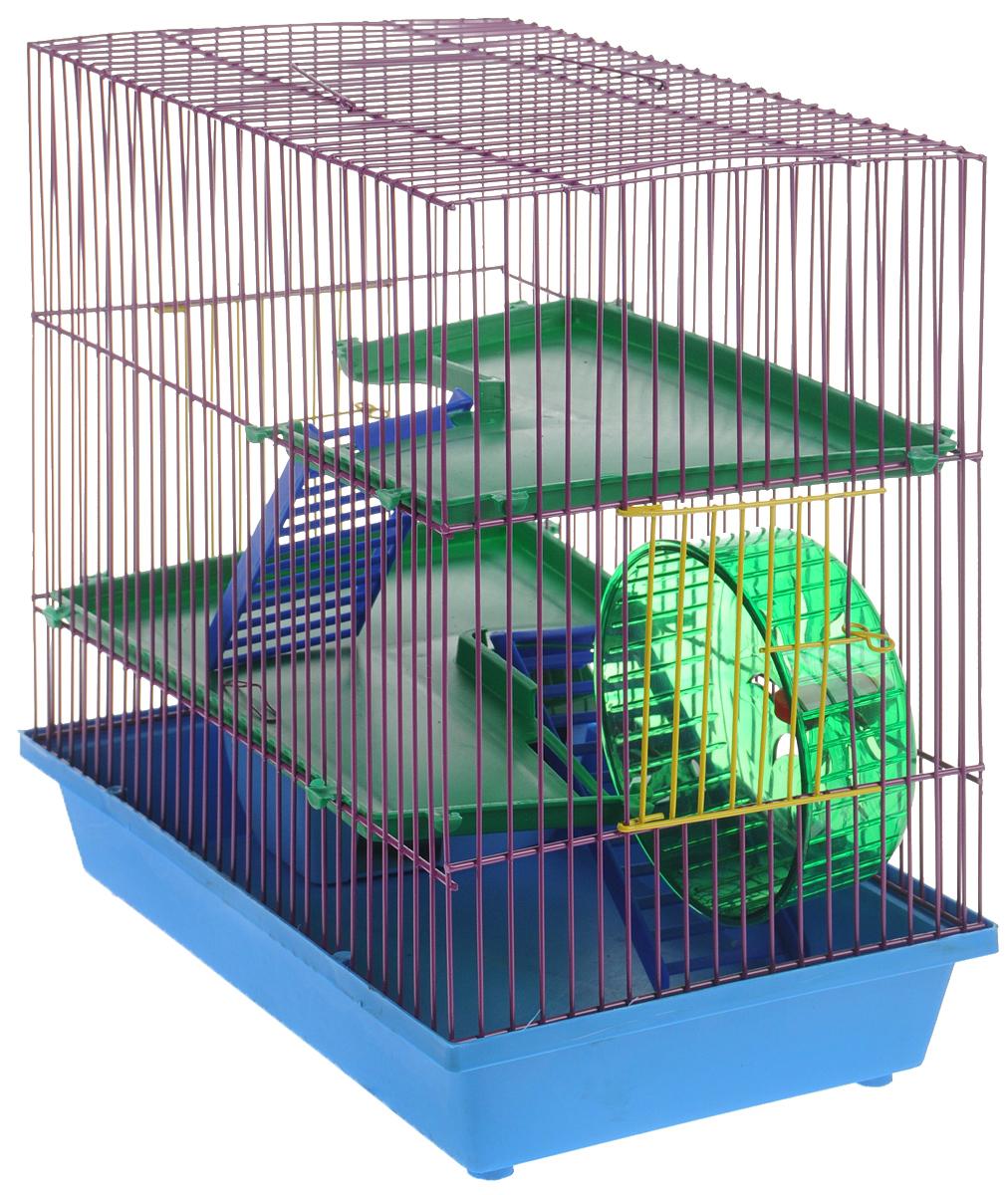 """Клетка для грызунов """"ЗооМарк"""", 3-этажная, цвет: синий поддон, красная решетка, зеленые этажи, 36 х 22,5 х 34 см"""