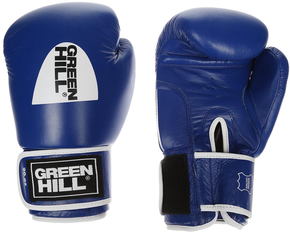 Перчатки боксерские Green Hill Gym, цвет: синий, белый. Вес 20 унций
