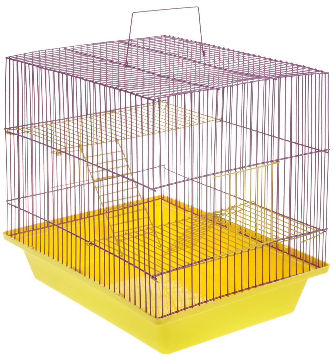 Клетка для грызунов ЗооМарк Гризли, 3-этажная, цвет: желтый поддон, фиолетовая решетка, желтые этажи, 41 х 30 х 36 см. 230ж230жЖФКлетка ЗооМарк Гризли, выполненная из полипропилена и металла, подходит для мелких грызунов. Изделие трехэтажное. Клетка имеет яркий поддон, удобна в использовании и легко чистится. Сверху имеется ручка для переноски.Такая клетка станет уединенным личным пространством и уютным домиком для маленького грызуна.