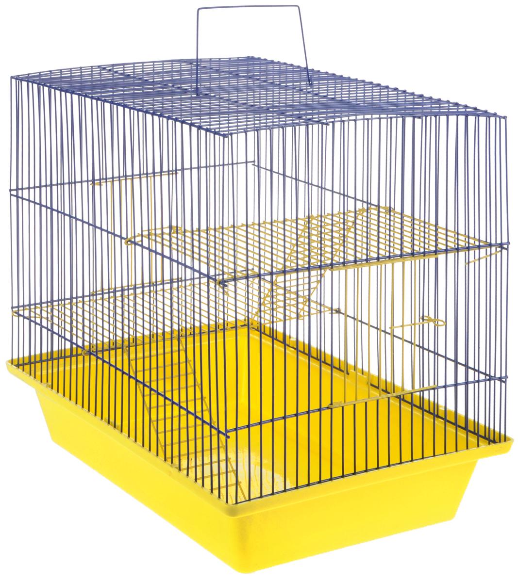 Клетка для грызунов ЗооМарк Гризли-3ж, цвет: желтый поддон, синяя решетка. 230ж230жЖС