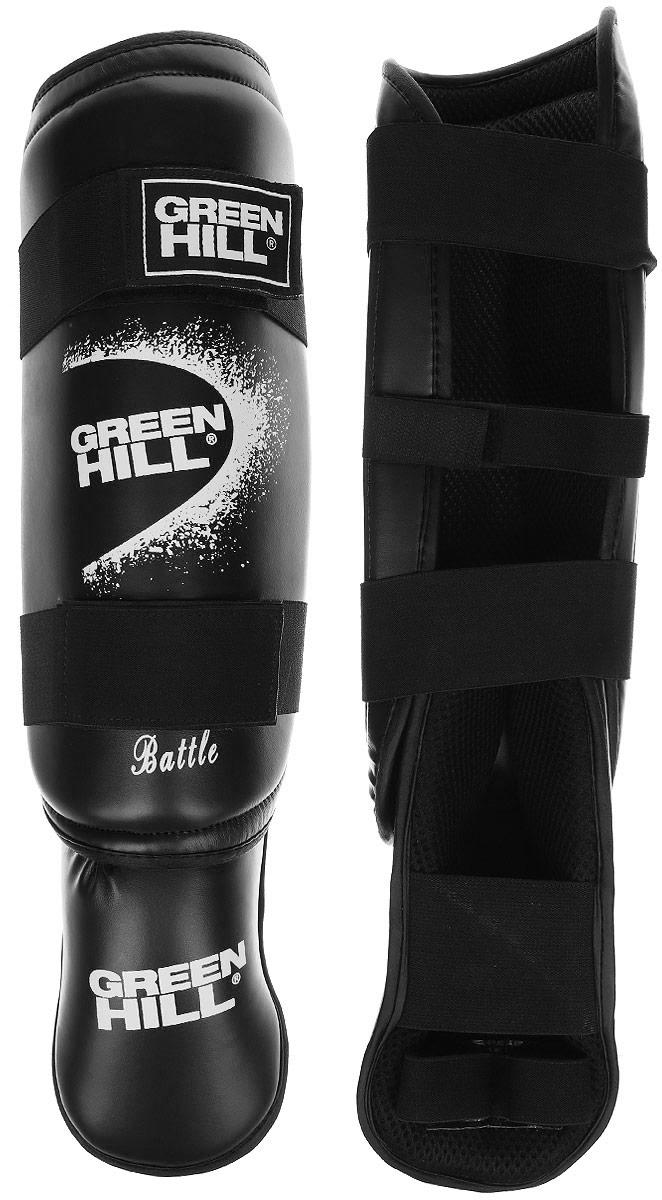 Защита голени и стопы Green Hill Battle, цвет: черный, белый. Размер L. SIB-0014