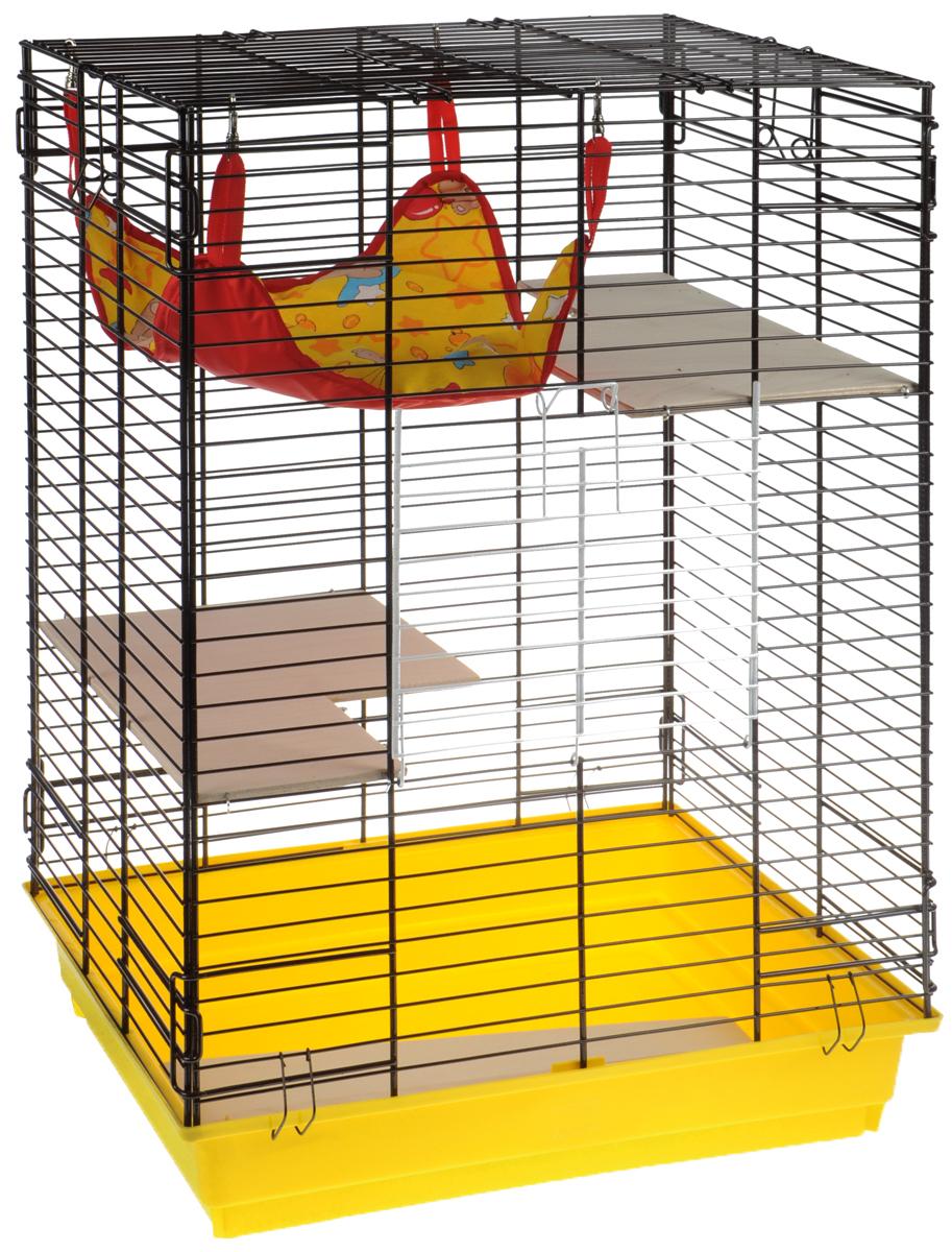 Клетка для шиншилл и хорьков ЗооМарк, цвет: желтый поддон, коричневая решетка, желто-красный, 59 х 41 х 79 см. 725дк725дкЖКоКлетка ЗооМарк, выполненная из полипропилена и металла, подходит для шиншилл и хорьков. Большая клетка оборудована деревянными этажами и гамаком. Изделие имеет яркий поддон, удобно в использовании и легко чистится. Сверху имеется ручка для переноски. Такая клетка станет уединенным личным пространством и уютным домиком для грызуна.