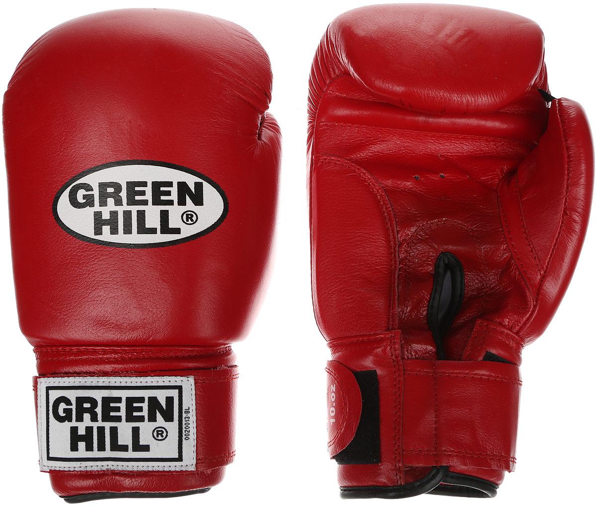 Перчатки боксерские Green Hill Super Star, цвет: красный, белый. Вес 10 унций. BGS-1213сPMP-2064Боксерские перчатки Green Hill Super Star предназначены для использования профессионалами. Подойдут для спаррингов и соревнований. Верх выполнен из натуральной кожи, наполнитель - из вспененного полимера. Отверстие в области ладони позволяет создать максимально комфортный терморежим во время занятий. Манжет на липучке способствует быстрому и удобному надеванию перчаток, плотно фиксирует перчатки на руке.