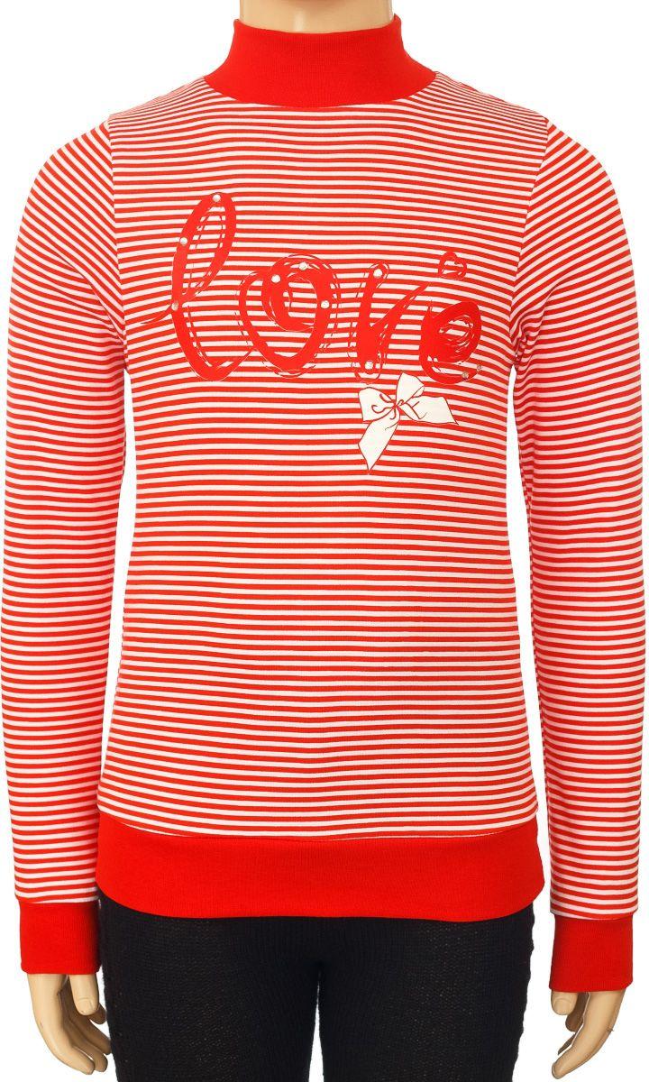 Водолазка для девочки M&D, цвет: красный, белый. WJO26025M. Размер 116 лосины для девочки m&d цвет бирюза мультиколор м33228 размер 116