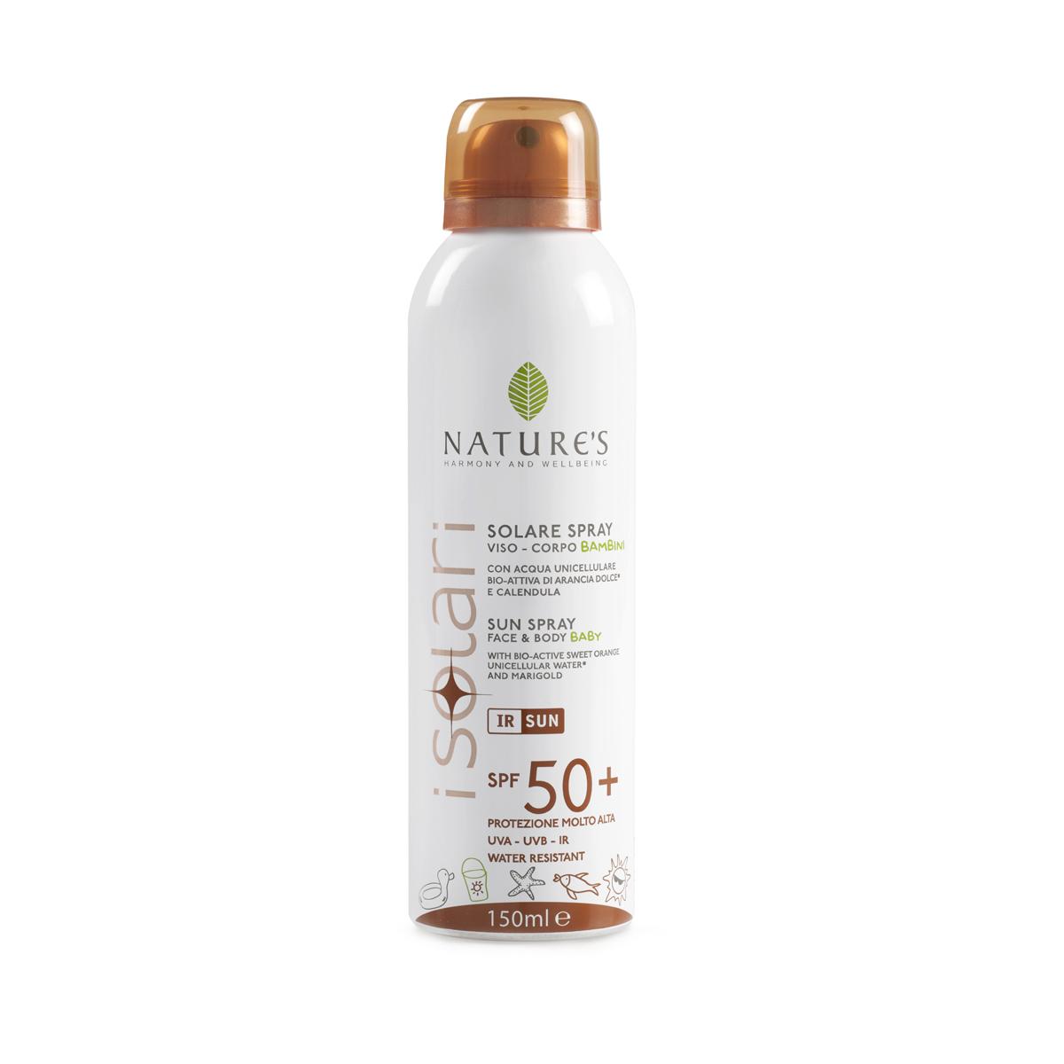 Natures Sun Солнцезащитный спрей для детей SPF 50+, 150 мл60041659Специальное средство для нежной чувствительной кожи ребенка с высокой степенью защиты от солнечного воздействия. Предотвращает ожоги, покраснения, шелушения, потерю влаги и другие повреждения кожи, сохраняя естественный гидролипидный баланс. Спрей с био-активными компонентами: экстрактами сладкого апельсина и календулы, уницилярной водой, рисовым молочком, комплексом защиты от инфракрасного излучения оказывает интенсивное смягчающее действие, способствуя постепенной адаптации кожи ребенка к солнечному свету. Растительный меланин обеспечивает ровный загар. НЕ СОДЕРЖИТ СПИРТ. Водостойкий. Прошел дерматологические тесты и тесты на содержание никеля.