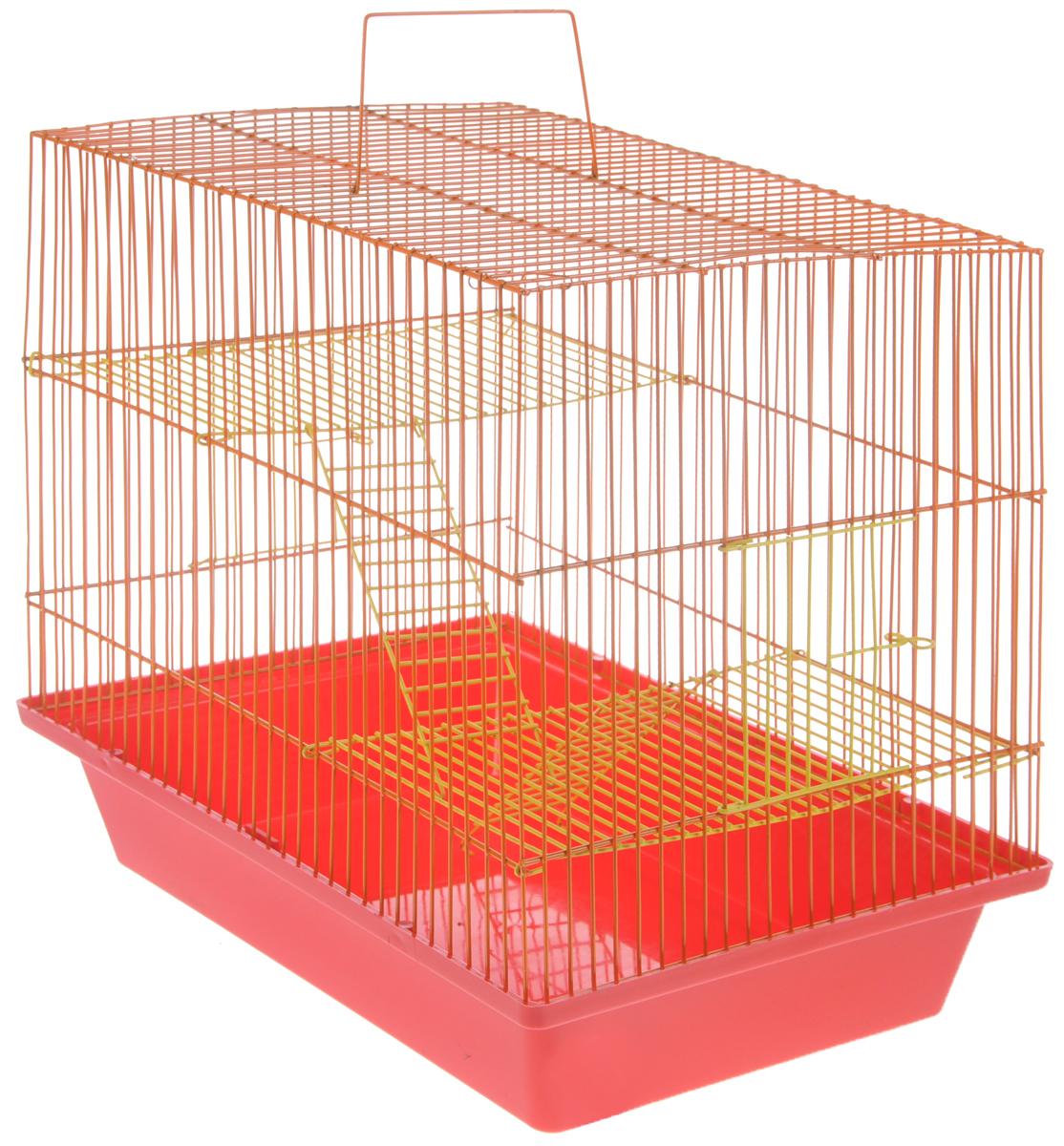 Клетка для грызунов ЗооМарк Гризли, 3-этажная, цвет: красный поддон, оранжевый решетка, желтые этажи, 41 х 30 х 36 см. 230ж230жКОКлетка ЗооМарк Гризли, выполненная из полипропилена и металла, подходит для мелких грызунов. Изделие трехэтажное. Клетка имеет яркий поддон, удобна в использовании и легко чистится. Сверху имеется ручка для переноски.Такая клетка станет уединенным личным пространством и уютным домиком для маленького грызуна.