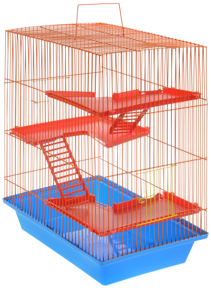Клетка для грызунов ЗооМарк Гризли, 4-этажная, цвет: голубой поддон, оранжевая решетка, красные этажи, 41 х 30 х 50 см240СОКлетка ЗооМарк Гризли, выполненная из полипропилена и металла, подходит для мелких грызунов. Изделие четырехэтажное. Клетка имеет яркий поддон, удобна в использовании и легко чистится. Сверху имеется ручка для переноски. Такая клетка станет уединенным личным пространством и уютным домиком для маленького грызуна.