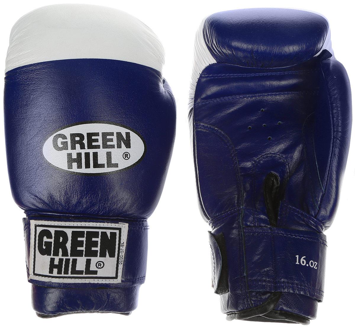 Перчатки боксерские Green Hill Super Star, цвет: синий, белый. Вес 16 унций. BGS-1213b перчатки боксерские green hill pro star цвет красный белый вес 16 унций bgps 2012