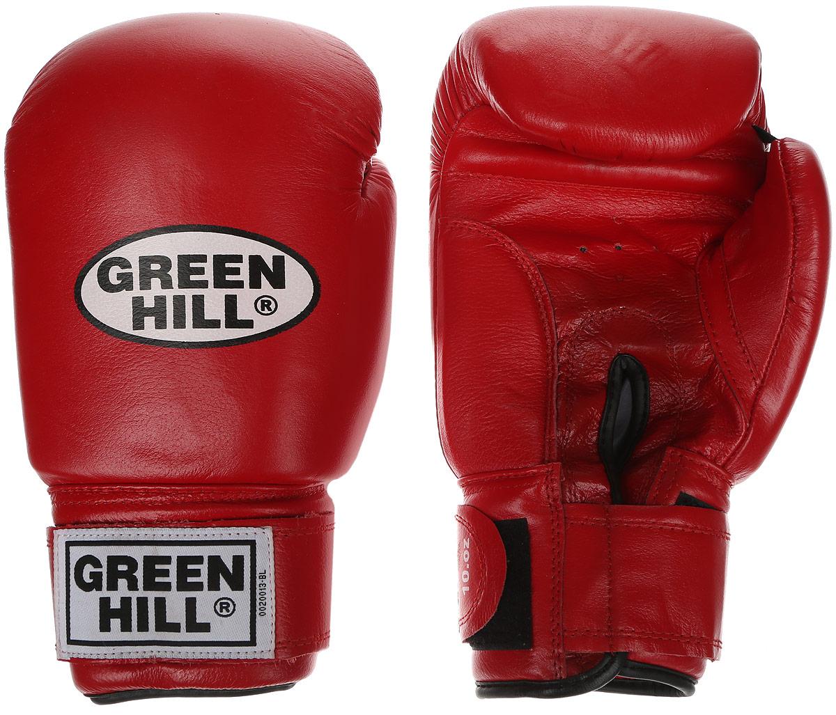 Перчатки боксерские Green Hill Super Star, цвет: красный, белый. Вес 14 унций. BGS-1213сC133Боксерские перчатки Green Hill Super Star предназначены для использования профессионалами. Подойдут для спаррингов и соревнований. Верх выполнен из натуральной кожи, наполнитель - из вспененного полимера. Отверстие в области ладони позволяет создать максимально комфортный терморежим во время занятий. Манжет на липучке способствует быстрому и удобному надеванию перчаток, плотно фиксирует перчатки на руке.