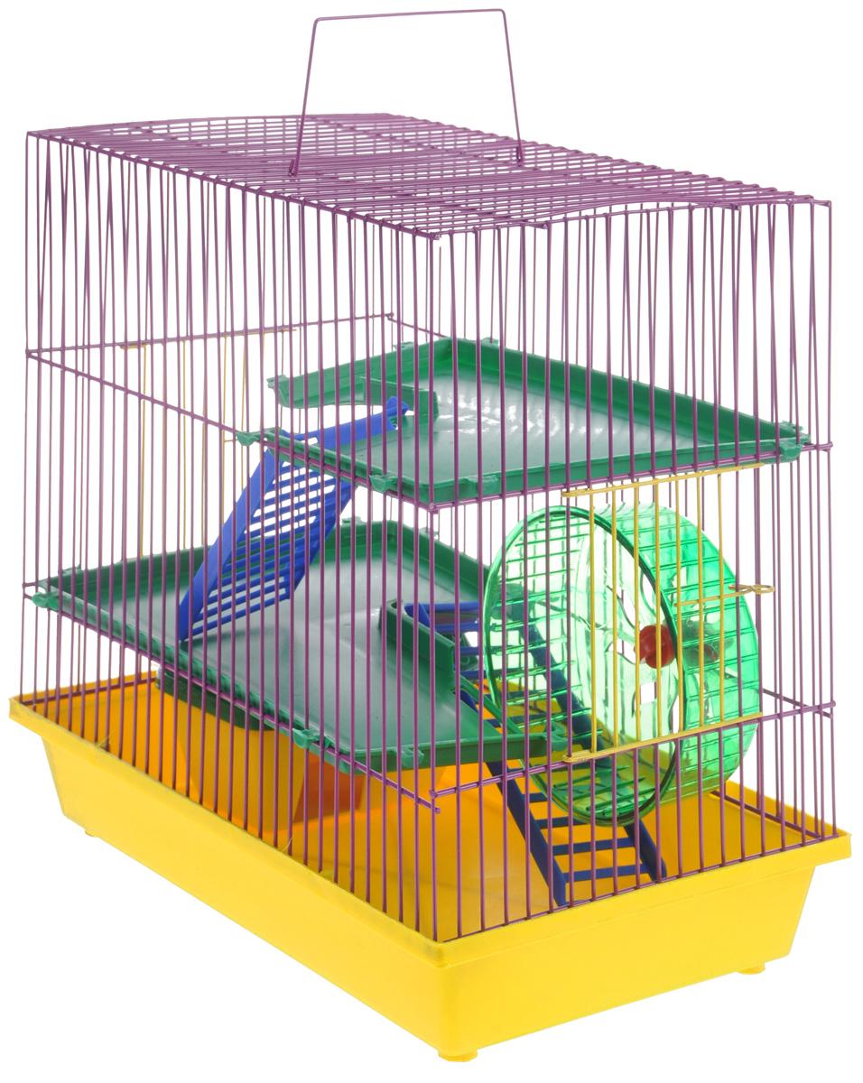Клетка для грызунов ЗооМарк, 3-этажная, цвет: желтый поддон, фиолетовая решетка, зеленые этажи, 36 х 22,5 х 34 см. 135135ЖФКлетка ЗооМарк, выполненная из полипропилена и металла, подходит для мелких грызунов. Изделие трехэтажное, оборудовано колесом для подвижных игр и пластиковым домиком. Клетка имеет яркий поддон, удобна в использовании и легко чистится. Сверху имеется ручка для переноски. Такая клетка станет уединенным личным пространством и уютным домиком для маленького грызуна.