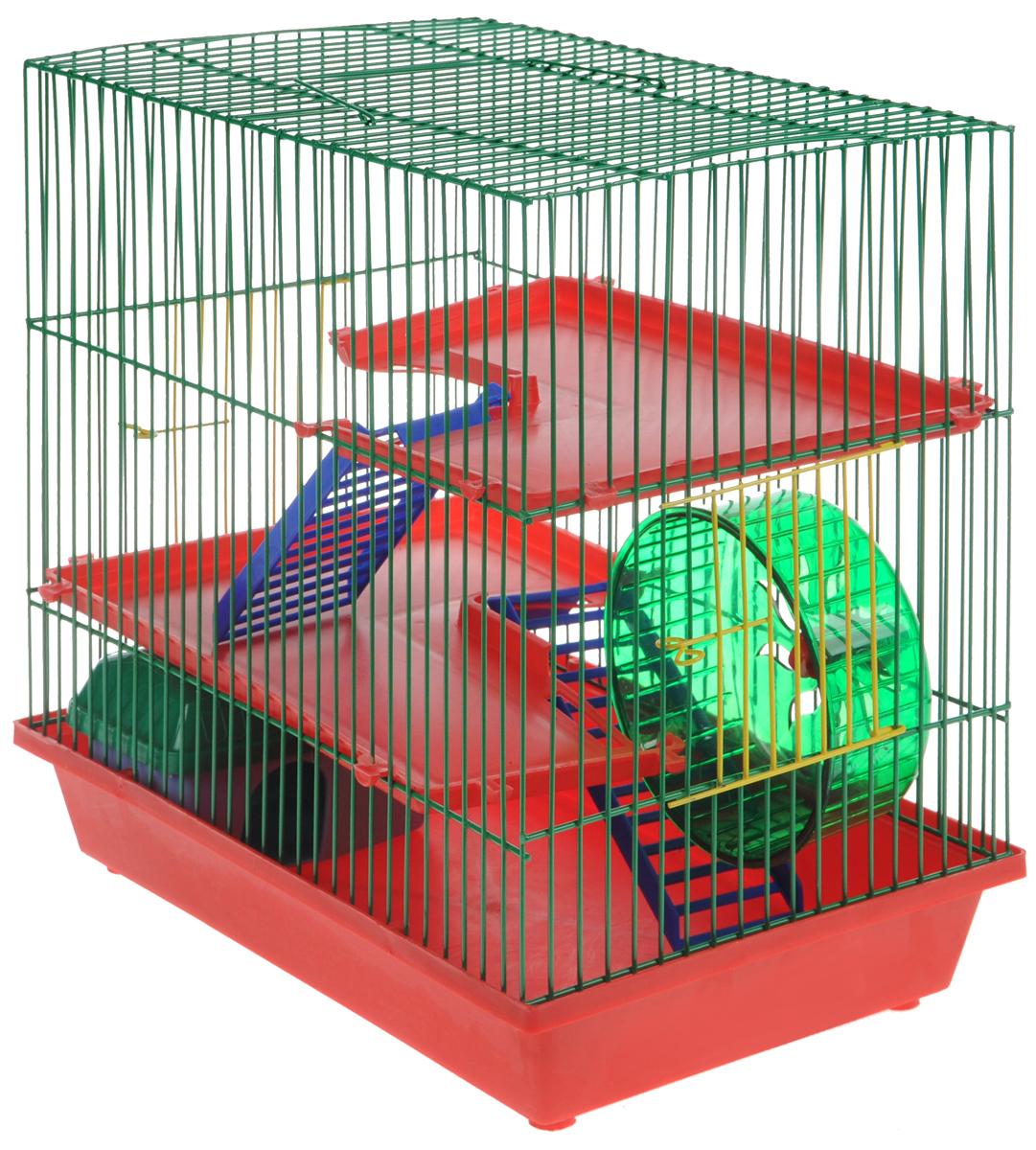 Клетка для грызунов ЗооМарк, 3-этажная, цвет: красный поддон, зеленая решетка, красные этажи, 36 х 22,5 х 34 см. 135135КЗКлетка ЗооМарк, выполненная из полипропилена и металла, подходит для мелких грызунов. Изделие трехэтажное, оборудовано колесом для подвижных игр и пластиковым домиком. Клетка имеет яркий поддон, удобна в использовании и легко чистится. Сверху имеется ручка для переноски. Такая клетка станет уединенным личным пространством и уютным домиком для маленького грызуна.