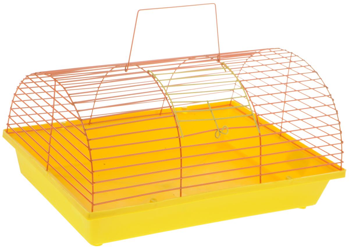Клетка для грызунов ЗооМарк, цвет: желтый поддон, оранжевая решетка, 36 х 23 х 17,5 см клетка для грызунов inter zoo wiewiorka для дегу 71х40х63см