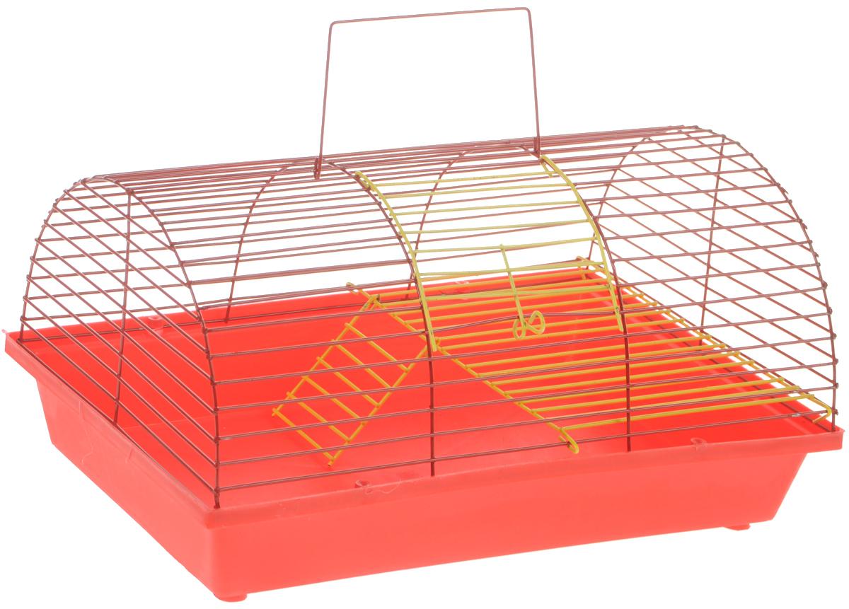 Клетка для грызунов ЗооМарк, цвет: красный поддон, красная решетка, 36 х 23 х 17,5 см. 110ж(110ж)КККлетка ЗооМарк, выполненная из полипропилена и металла, подходит для грызунов. Она имеет яркий поддон, удобна в использовании и легко чистится. Клетка оснащена вторым ярусом с лесенкой, выполненных из металла.Такая клетка станет уединенным пространством и уютным домиком для маленького грызуна.