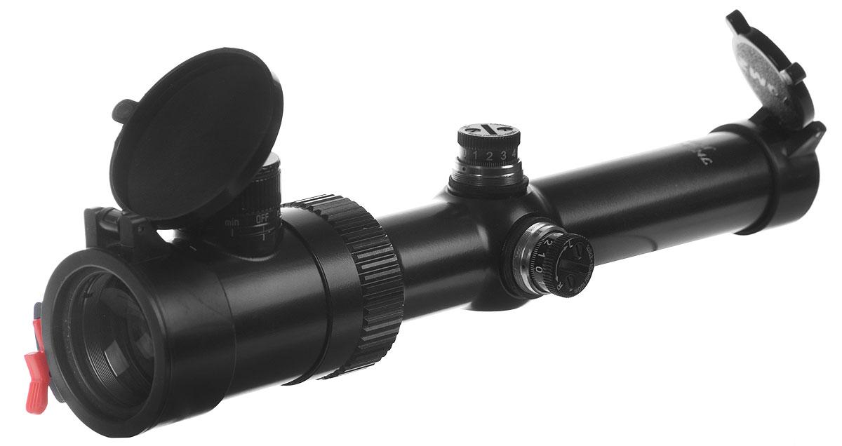 Прицел оптический Pilad, PV 1,2-6х24LKG5525Оптический прицел Pilad удобен для стрельбы при рассветно-сумеречном освещении или при стрельбе по целям на сложном фоне. Кратность, плавно изменяемая в диапазоне от 1,2 до 6, позволяет использовать прицел для поиска и выслеживания дичи, загонной охоты (дальность стрельбы до 100-150 м) или охоты с подхода, для стрельбы по малоразмерным объектам.Особенности и преимущества:По удобству применения это сравнимо с коллиматорными прицелами, при этом сохраняются все достоинства прицелов с большой кратностью увеличения.Прицельная сетка располагается в окулярной фокальной плоскости прицела, поэтому при изменении кратности ее размер не меняется.Пыле-брызгозащищен.Прицельная марка с подсветкой центральной точки, интенсивность свечения регулируется (9 степеней яркости).Барабанчики ввода поправок с защитными колпачками и установкой настроек в положение 0, шаг выверки – 1/7 (14 мм на каждые 100 м).Плавное изменение увеличения позволяет останавливаться на любом промежуточном его значении.Цельнометаллический корпус.Откидывающиеся крышки (система Flip-top) для защиты линз объектива и окуляра от пыли, капель воды и механических повреждений.Цельная труба диаметром 30 мм изготовлена из авиационного алюминия, который характеризуется малым удельным весом и хорошей коррозионной стойкостью.Многослойное просветляющее покрытие линз.Увеличение: 1,2-6 крат.Угловое поле зрения: 15,6-3,2°.Диаметр выходного зрачка: 8...5,2 мм.Удаление выходного зрачка от последней линзы окуляра: 75 мм.Диоптрийная наводка окуляра: ±5 дптр.Посадочный диаметр: 30 мм.Диаметр линзы объектива: 24 мм.Диаметр объектива: 30 мм.Диаметр окуляра: 44 мм.Величина клика: 1,5 см/100 м.Интервал рабочих температур прицела: от -40°С до +50°С.Величина зоны, перекрываемой светящейся точкой при минимальном увеличении 148 мм/100 м.Величина зоны, перекрываемой светящейся точкой при максимальном увеличении: 30 мм/100 м.Электропитание: 1 батарейка CR 2032 (входит в комплект).Светопропускание: не м