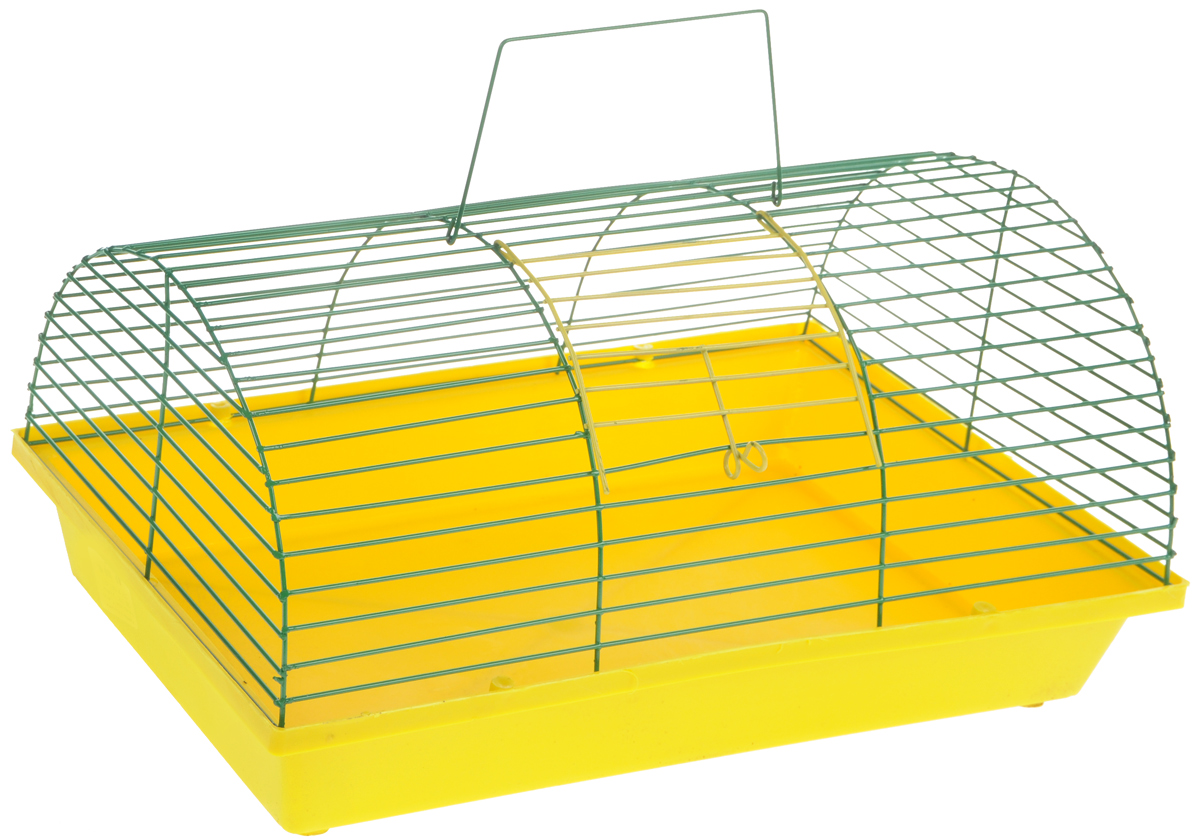 Клетка для грызунов ЗооМарк, полукруглая, без этажа, цвет: желтый поддон, зеленая решетка. 080(80)ЖЗ