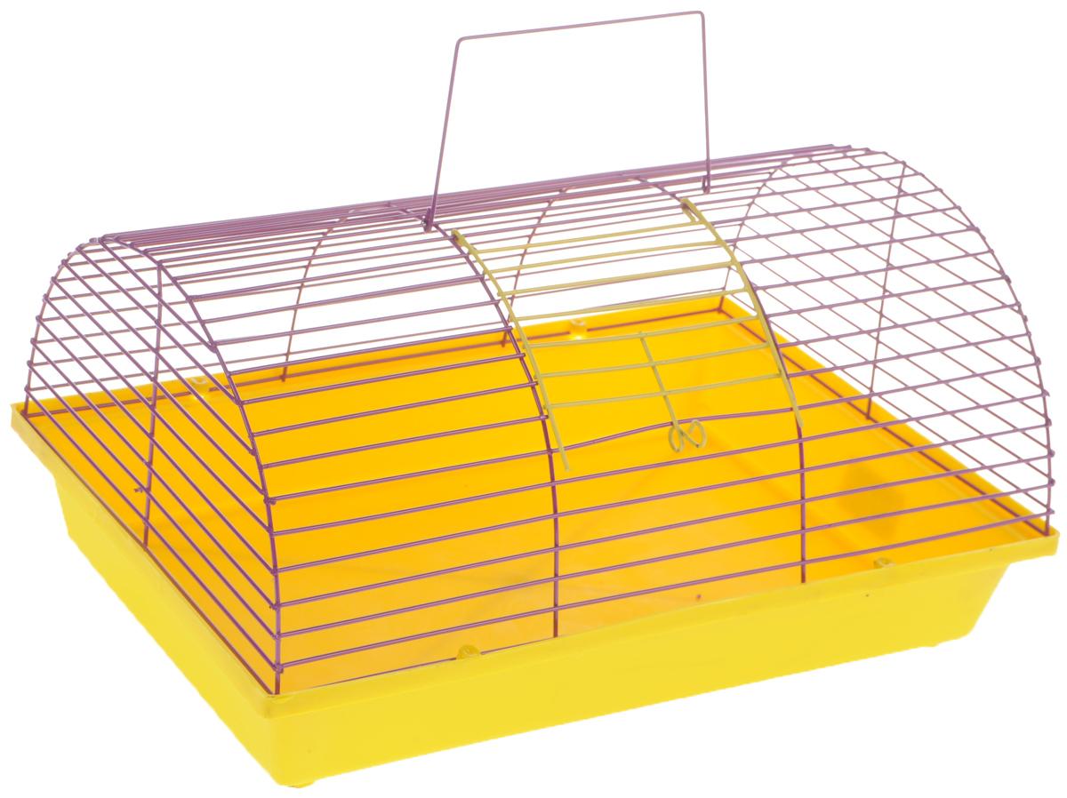 Клетка для грызунов ЗооМарк, полукруглая, без этажа, цвет: желтый поддон, фиолетовая решетка. 080(80)ЖФ