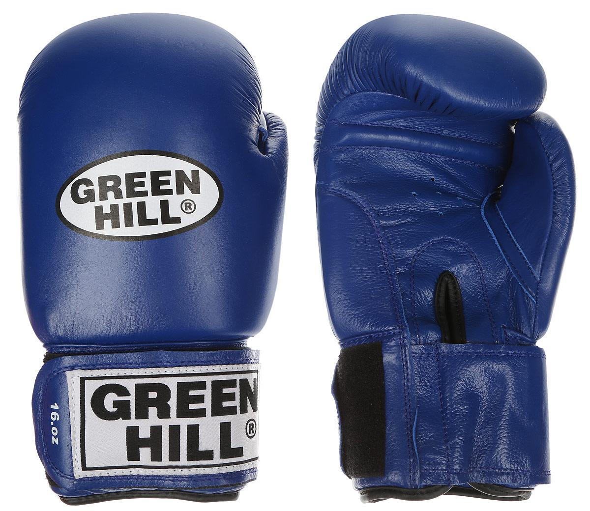 Перчатки боксерские Green Hill Tiger, цвет: синий, белый. Вес 16 унций. BGT-2010сBGT-2010сБоевые боксерские перчатки Green Hill Tiger применяются как для соревнований, так и для тренировок. Верх выполнен из натуральной кожи, вкладыш - предварительно сформированный пенополиуретан. Манжет на липучке способствует быстрому и удобному надеванию перчаток, плотно фиксирует перчатки на руке. Отверстия в области ладони позволяют создать максимально комфортный терморежим во время занятий.В перчатках применяется технология антинокаут.