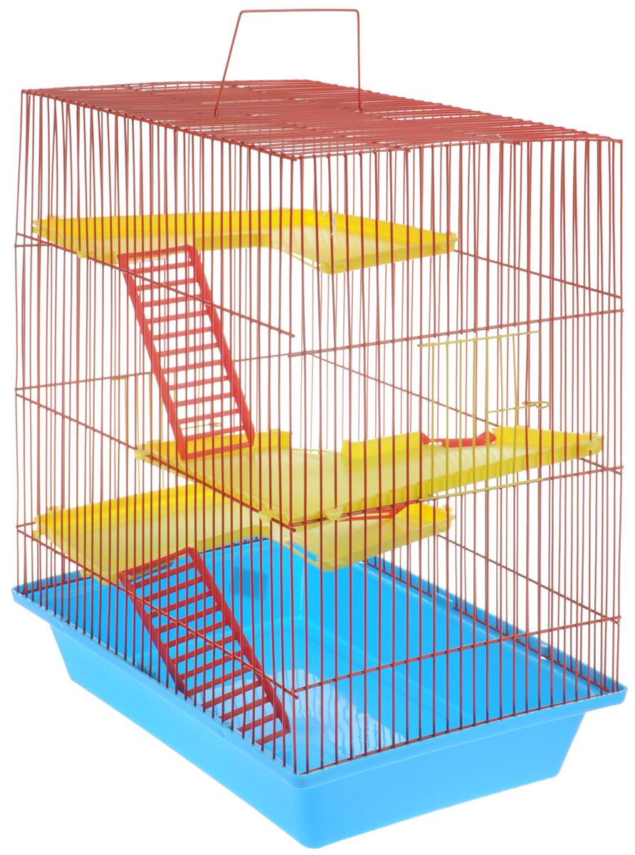 Клетка для грызунов ЗооМарк  Гризли , 4-этажная, цвет: голубой поддон, красная решетка, желтые этажи, 41 х 30 х 50 см - Клетки, вольеры, будки