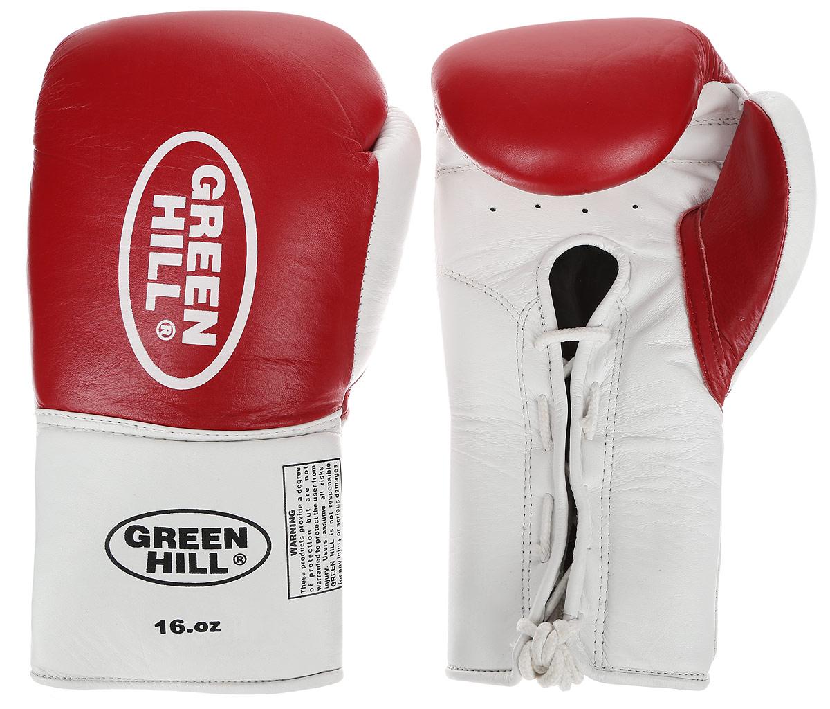 Перчатки боксерские Green Hill Proffi, цвет: красный, белый. Вес 16 унций. BGP-2014BGS-1213сБоксерские перчатки Green Hill Proffi предназначены для использования профессионалами. Верх выполнен из натуральной кожи, наполнитель - из вспененного полимера. Отверстие в области ладони позволяет создать максимально комфортный терморежим во время занятий. Манжет на шнуровке способствует быстрому и удобному надеванию перчаток, плотно фиксирует перчатки на руке.