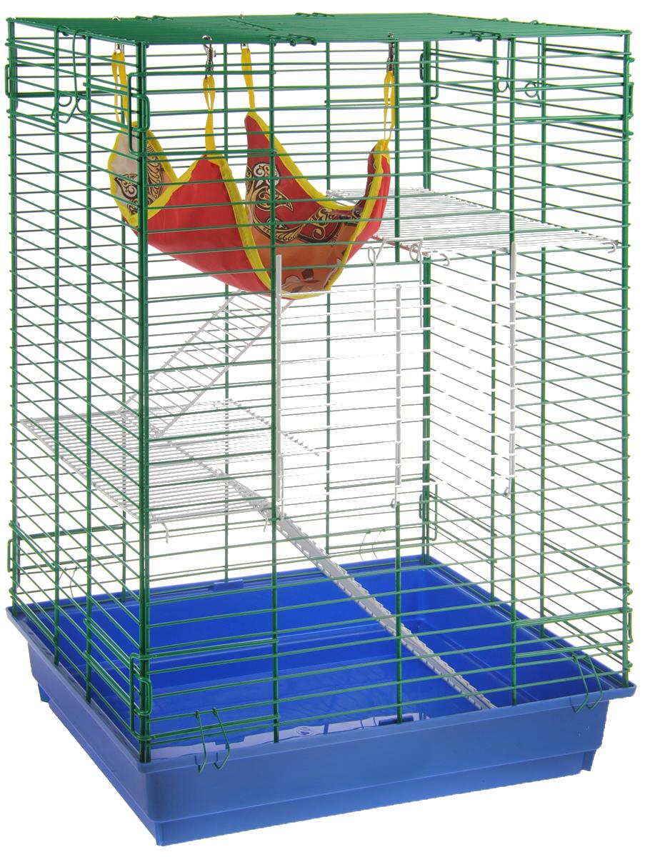Клетка для шиншилл и хорьков  ЗооМарк , цвет: синий поддон, зеленая решетка, 59 х 41 х 79 см. 725жк