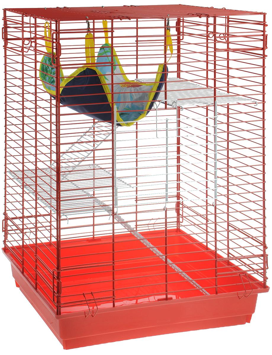 Клетка для шиншилл и хорьков  ЗооМарк , цвет: красный поддон, красная решетка, 59 х 41 х 79 см. 725жк