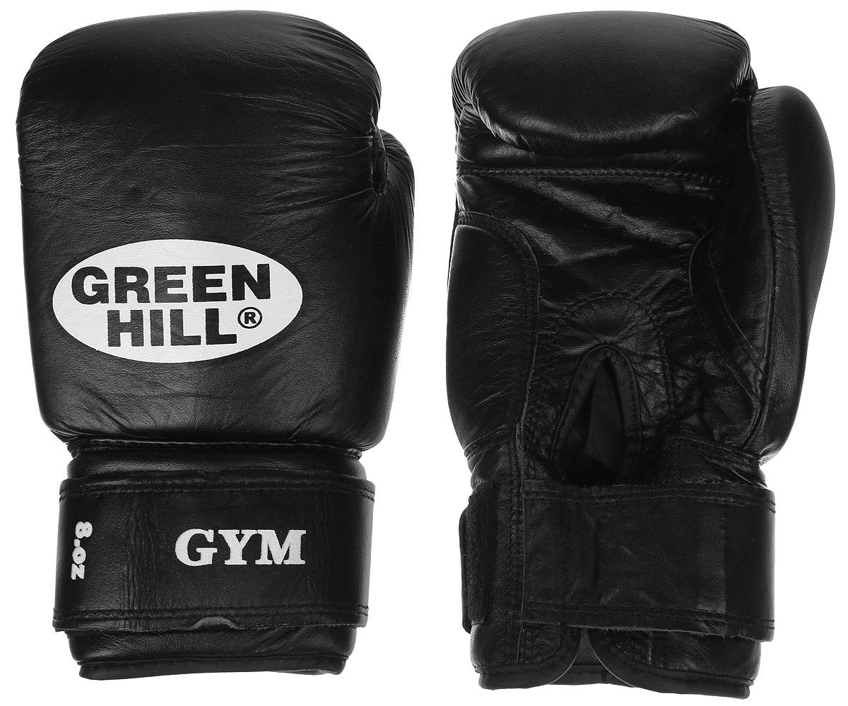 цена на Перчатки боксерские Green Hill Gym, цвет: черный, белый. Вес 8 унций