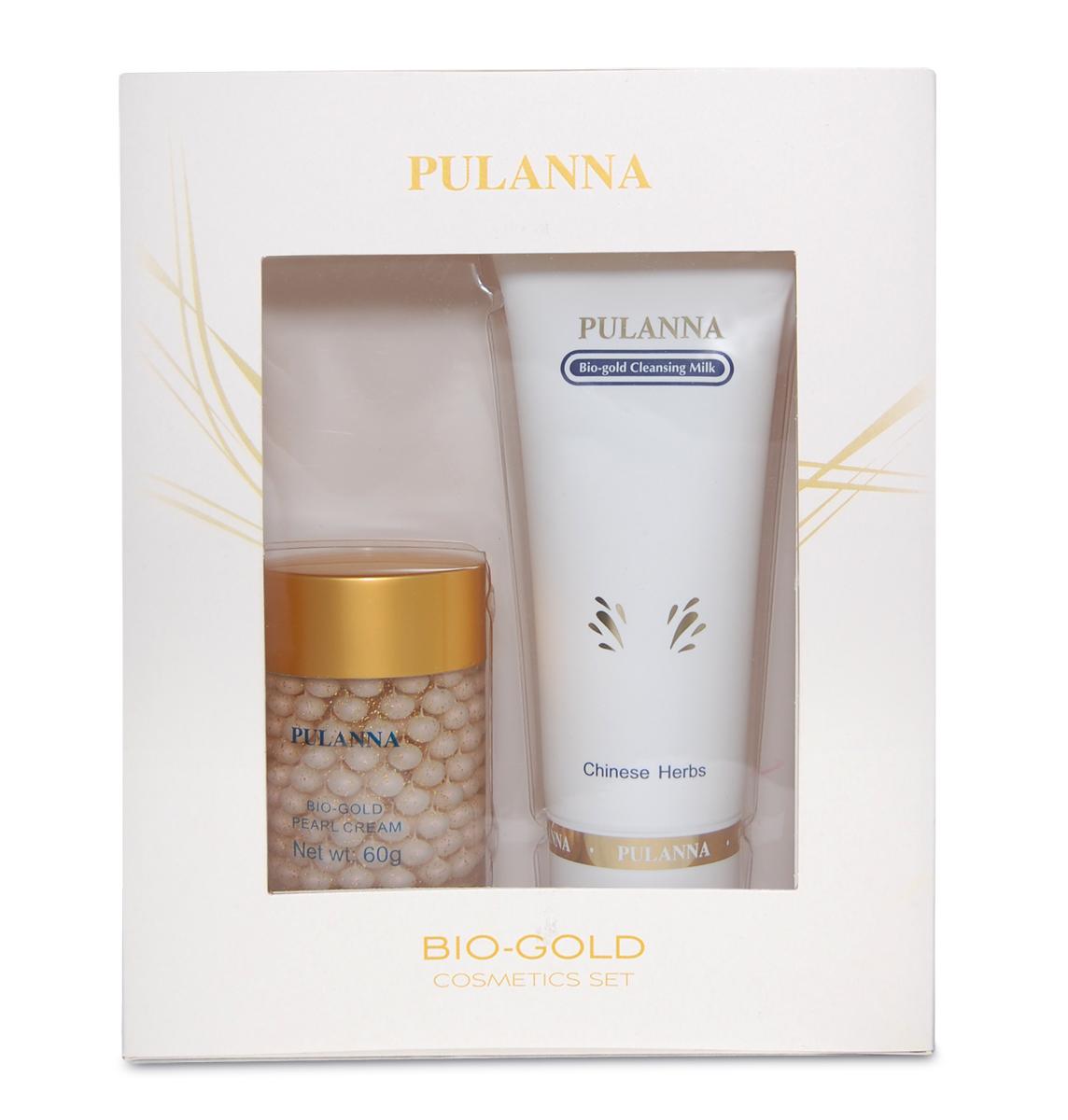 Pulanna Подарочный набор Bio-gold Cosmetics Set (2 предмета) 0 очищающее молочко с золотом bio gold milk 90г pulanna