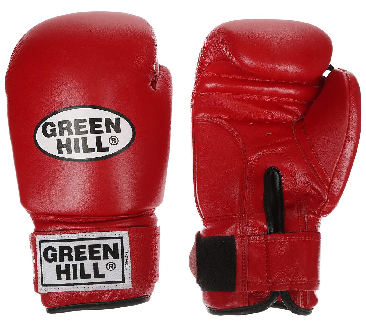 Перчатки боксерские Green Hill Super Star, цвет: красный, белый. Вес 12 унций. BGS-1213сBGG-2018Боксерские перчатки Green Hill Super Star предназначены для использования профессионалами. Подойдут для спаррингов и соревнований. Верх выполнен из натуральной кожи, наполнитель - из вспененного полимера. Отверстие в области ладони позволяет создать максимально комфортный терморежим во время занятий. Манжет на липучке способствует быстрому и удобному надеванию перчаток, плотно фиксирует перчатки на руке.