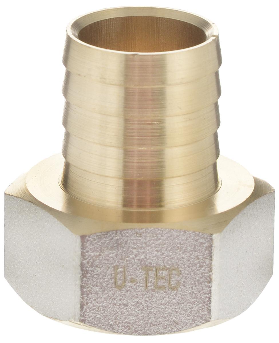 """Переходник """"U-Tec"""" предназначен для соединения резьбовых соединений с резиновым шлангом. Изделие изготовлено из прочной и долговечной латуни. Никелированное покрытие на внешнем корпусе защищает изделие от окисления. Продукция под торговой маркой """"U-Tec"""" прошла все необходимые испытания и по праву может считаться надежной.Размер ключа: 30 мм."""