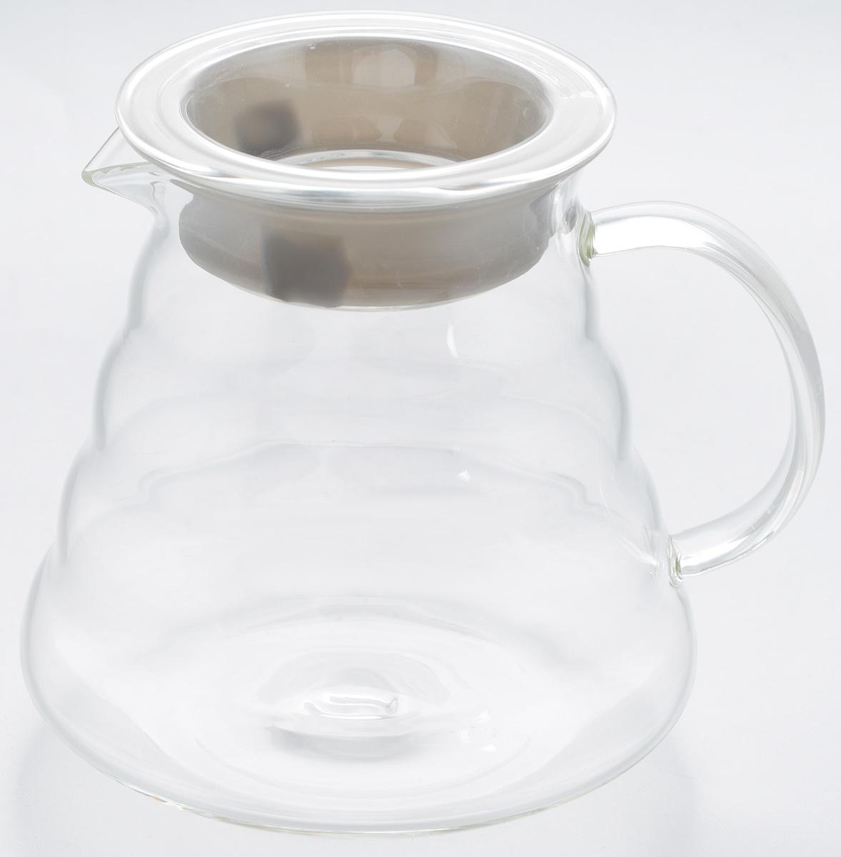 Чайник заварочный Hunan Provincial Тама, 500 мл15052Заварочный чайник Hunan Provincial Тама изготовлен из стекла. Пить чай из такого чайника сплошное удовольствие! Полностью прозрачная форма позволяет любоваться цветом своего любимого напитка. В этом чайнике не предусмотрена колба для заваривания чая. Крышка надежно крепится с помощью силиконовой вставки, и не может выпасть даже если чайник перевернуть кверху дном. Именно поэтому данный чайник является лучшей сервировочной посудой для связанного чая и фруктово-ягодных настоев. Диаметр чайника (по верхнему краю): 7,5 см.Высота чайника (без учета крышки): 11 см.Высота чайника (с учетом крышки): 11,5 см.