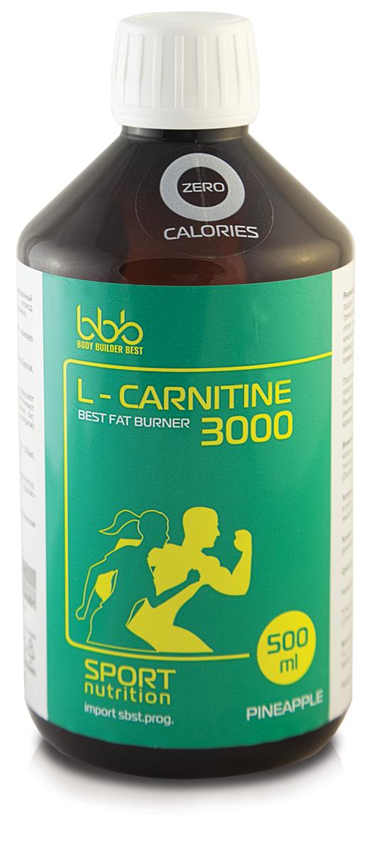 Карнитин bbb L-Carnitine 3000, ананас, 500 мл карнитин bbb l carnitine 3000 лимон 1 л