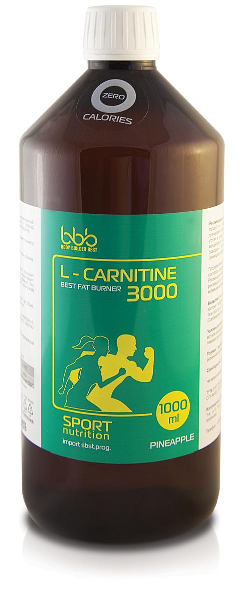 Карнитин bbb L-Carnitine 3000, ананас, 1 л105150L-Карнитин 3000 - специализированный пищевой продукт для питания спортсменов в период интенсивных тренировок, в дополнение к основному рациону.-Расщепляет жиры; Уменьшает массу тела; Снижает тканевую гипоксию.Анаболический эффект L-карнитина замедляет распад белков, помогает формировать мышечный каркас.Антиоксидантные и антигипоксические эффекты повышают порог устойчивости к физическим нагрузкам, обеспечивают выносливость при занятиях как аэробными (плавание, бег, аэробика) так и анаэробными (пауэрлифтинг, культуризм) видами спорта. Внимание!Вы потребляете 0 калорий /zerocalories, т.к. все калории продукта моментально тратятся на согревание раствора до температуры тела 100 мл охлажденного раствора. (DanGwartney.MuscleDevelopment, 1, 2006). Рекомендации по применению: в дни тренировок принимать продукт по 1 порции утром перед едой и за 30 минут до тренировки; в свободные от тренировок дни продукт употреблять утром и днем по 1 порции перед едой. Каждую порцию концентрата = половина мерного колпачка/крышки (4,4 мл) необходимо разводить в 100 мл охлажденной (не выше +18°C) воды. Не совмещать с кофе и алкоголем.Продолжительность одного курса - 4 недели. Курсы можно повторять с перерывом в 2 недели между ними.Состав: L-карнитин 440мг, вода очищенная, ароматизатор, идентичный натуральному (лимон/вишня/ананас), подсластитель сукралоза.Как повысить эффективность тренировок с помощью спортивного питания? Статья OZON Гид