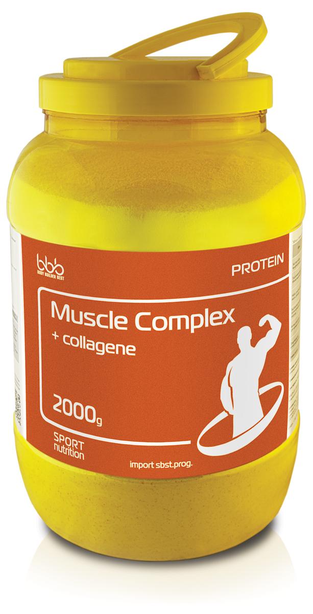 Протеин bbb Muscle Protein Complex + Collagen, ваниль, 2 кг105158Muscle Complex Protein + collagene - дополнительный источник коллагена и комплекса протеинов пролонгированного усвоения. Поддерживает непрерывный анаболизм в течение 4-6 часов.Рекомендуется использовать для достижения следующих целей:-Набор сухой мышечной массы (формирование рельефа);-Профилактика износа суставов при длительных интенсивных нагрузках.Рекомендации по применению: для приготовления одной порции коктейля надо 1 порцию (50 г или 1 мерную ложку объемом 100 мл) сухого порошка размешать в 250-300 мл нежирного молока или воды, взбить до однородной массы в шейкере и употреблять в соответствии с целями. Восстановленный продукт хранению не подлежит. При разведении в молоке пищевая и энергетическая ценность увеличивается. Состав: сывороточный белок - 30 г, молочный белок - 2,5 г, мальтодекстрин - 4 г, глюкоза - 3 г, коллаген - 2 г.Как повысить эффективность тренировок с помощью спортивного питания? Статья OZON Гид