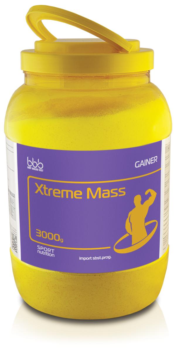 Гейнер bbb Xtreme Mass Gainer, шоколад, 3 кг105219Хtreme Mass Gainer- гейнер, дополнительный источник углеводов, белков, энергии. Одна порция продукта содержит максимальное количество быстро доступных калорий. Незаменимое средство ускоренного набора недостающей массы тела. Для опытных спортсменов - это базовая формула поддержания объема мышечной массы в любых циклах тренировки.В сочетании с различными режимами нагрузок продукт используется для следующих целей:Быстрый набор мышечной массы при исходном дефиците веса Эффективная компенсация повышенных затрат энергии в дни интенсивных тренировок bbb XtremeMassGainer коктейль (1 порция = 100 г порошка, разведенного в 250 - 300 мл нежирного молока) Базовый продуктСочетание с другими продуктами в дни тренировокПрием в дни без тренировокУтром через час после еды: 1 порция порошка bbb CreatineFastLoad. Перед тренировкой за 30-40 минут: коктейль bbb XtremeMassGainer + 10-15 г порошка bbb BCAA Pro, или 8-12 таблеток bbb BCАA Tabs.После тренировки через 30-40 минут: коктейль bbb XtremeMassGainer + 10-15 г bbb BCAA Pro или 8-12 таблеток bbb BCАA Tabs. Между приемами пищи: 1 раз в течение дня коктейль bbb MuscleComplexProtein.1-2 раза в день между приемами пищи: коктейль bbb XtremeMassGainer. 1 раз в день: 5-10 г порошок bbb CreatineMicro с соком или гейнером. Рекомендации по применению: для приготовления одной порции коктейля надо 1 порцию (100г или 3 мерные ложки объемом по 60мл) сухого порошка размешать в 250-300мл нежирного молока или воды, взбить в шейкере до однородной массы и употреблять в соответствии с целями. Восстановленный продукт хранению не подлежит. При разведении в молоке пищевая и энергетическая ценность увеличивается.Состав: сывороточный белок - 19г, молочный белок - 2г, углеводы - 57г (в т.ч. мальтодекстрин - 32г, глюкоза - 8г), жиры - 2г.Как повысить эффективность тренировок с помощью спортивного питания? Статья OZON Гид
