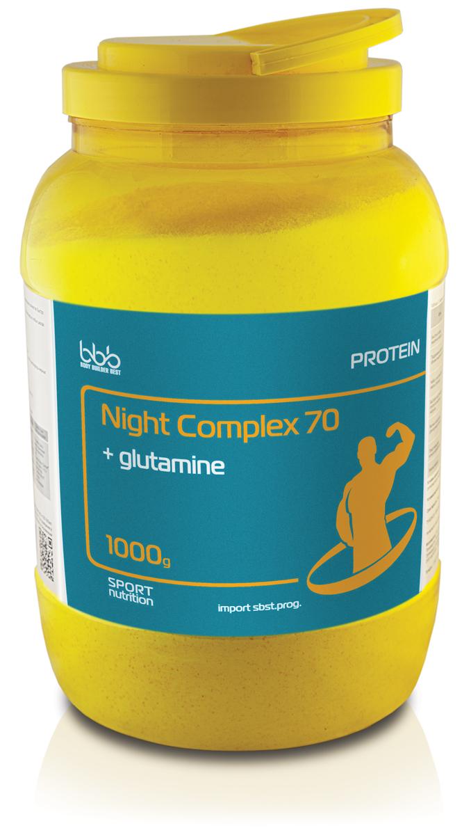 Аргинин bbb Night Complex + l-glutamine, банан, 1 кг105246Night Complex Protein 70 + glutamine - дополнительный источник медленного белка казеина, молочного белка, сывороточного белка и выделенной аминокислоты L - глутамин.Продукт предназначен для:-Предотвращения ночного катаболизма;-Замены питания при перерывах между основными приемами пищи более 6 часов. Рекомендации по применению: для приготовления одной порции коктейля надо 1 порцию (40 г или 2 мерные ложки объемом по 100 мл) сухого порошка размешать в 250-300 мл нежирного молока или воды, взбить в шейкере до однородной массы и употреблять в соответствии с целями. Восстановленный продукт хранению не подлежит. При разведении в молоке пищевая и энергетическая ценность увеличивается.Состав: казеин - 17 г, сывороточный белок - 8 г, молочный белок - 3 г, углеводы (в т.ч. мальтодекстрин - 4 г, глюкоза - 0,4 г), глутамин - 0,4 г.Как повысить эффективность тренировок с помощью спортивного питания? Статья OZON Гид