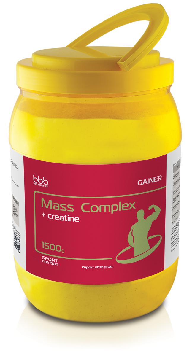 Гейнер bbb Mass Complex + creatine, банан, 1,5 кг105254Mass Complex + creatine - специализированный пищевой продукт для питания спортсменов в период интенсивных тренировок в дополнение к основному рациону. По составу является классическим гейнером с соотношением углеводов и белков 3:1 (оптимальная формула набора мышечной массы для начинающих с исходно нормальной массой тела); для опытных спортсменов - это базовая формула поддержания объема мышечной массы в любых циклах тренировки.В сочетании с различными режимами нагрузок продукт можно использовать для достижения нескольких целей:-Поддержание имеющегося объема мышечной массы при исходно нормальной массе тела;-Быстрый набор мышечной массы при исходном дефиците массы тела;Состав: сывороточный белок - 16 г, молочный белок - 2 г, углеводы - 43, жиры - 5.5г, креатина моногидрат - 1 г.Как повысить эффективность тренировок с помощью спортивного питания? Статья OZON Гид