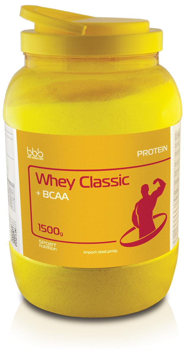 Протеин bbb Whey Classic + BCAA, банан, 1,5 кг105255Whey Classic Protein + BCAA - дополнительный источник сывороточного белка и незаменимых (с разветвленной молекулярной цепочкой) аминокислот лейцина, валина, изолейцина - компонентов быстрого включения в анаболические циклы обмена веществ во время физических нагрузок.В сочетании с вариациями режимов нагрузок продукт можно использовать для достижения различных целей:-Формирование сухой мышечной массы и рельефа в соответствующих циклах бодибилдинга, фитнеса;-Сокращение периода восстановления между нагрузками.Рекомендации по применению: для приготовления одной порции коктейля надо 1 порцию (50 г или 2 мерные ложки объемом по 60 мл) сухого порошка размешать в 250-300 мл нежирного молока или воды, взбить до однородной массы в шейкере и употреблять в соответствии с целями. Восстановленный продукт хранению не подлежит. При разведении в молоке пищевая и энергетическая ценность увеличивается. Состав: сывороточный белок - 35 г, углеводы - 5,25 г, L-лейцин - 1,4 г, L-валин - 0,75 г, L-изолейцин - 0,75 г.Как повысить эффективность тренировок с помощью спортивного питания? Статья OZON Гид