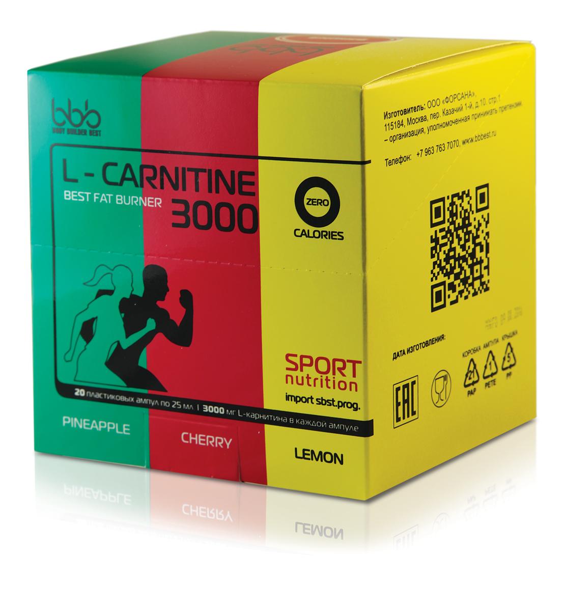 Карнитин bbb L-Carnitine 3000, микс, 20 ампул l карнитин qnt 3000 25 мл 20 ампул