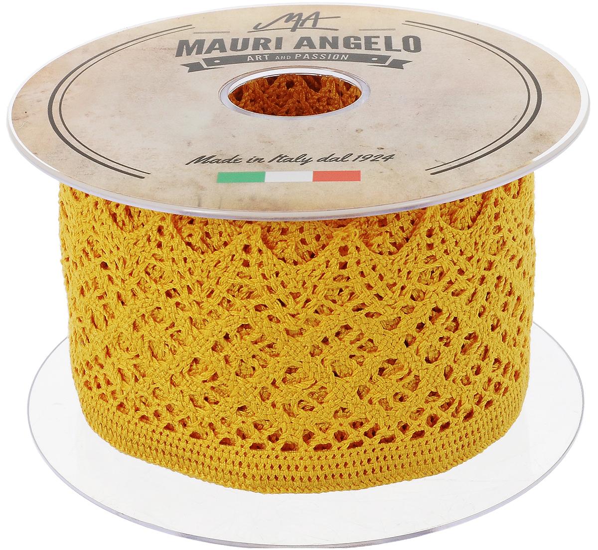 Лента кружевная Mauri Angelo, цвет: желтый, 5,9 см х 10 мMR4133/030_желтыйДекоративная кружевная лента Mauri Angelo - текстильное изделие без тканой основы, в котором ажурный орнамент и изображения образуются в результате переплетения нитей. Кружево применяется для отделки одежды, белья в виде окаймления или вставок, а также в оформлении интерьера, декоративных панно, скатертей, тюлей, покрывал. Главные особенности кружева - воздушность, тонкость, эластичность, узорность.Декоративная кружевная лента Mauri Angelo станет незаменимым элементом в создании рукотворного шедевра. Ширина: 5,9 см.Длина: 10 м.