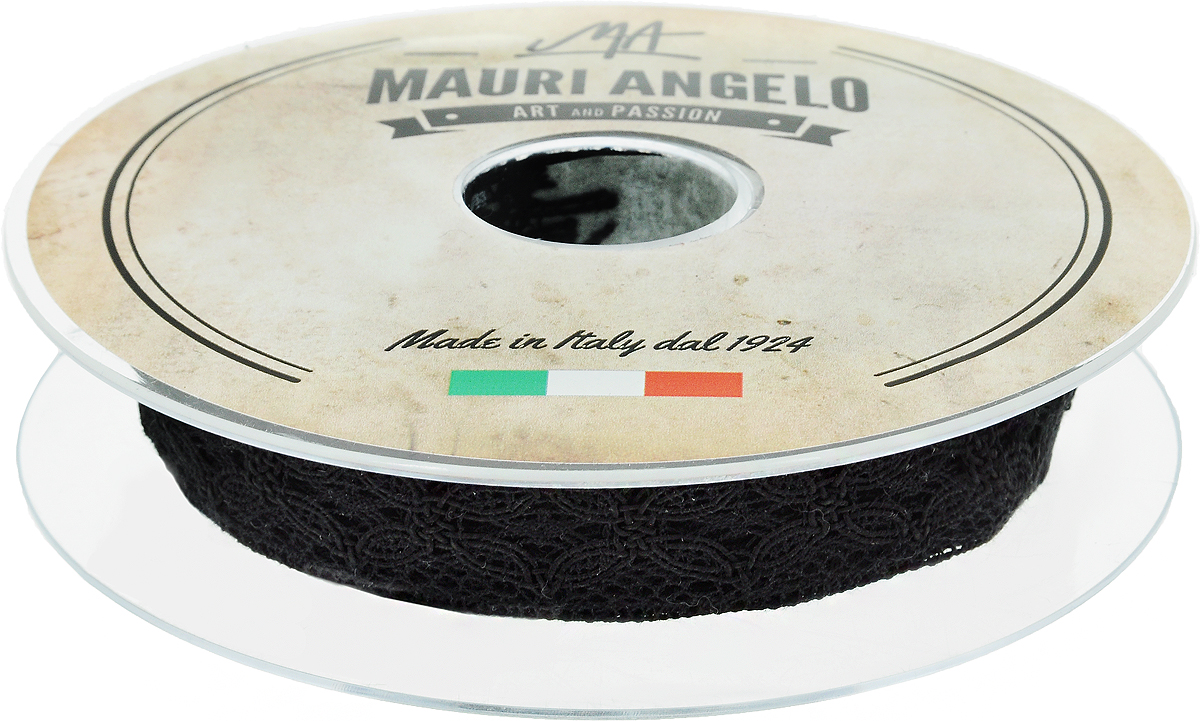 Лента кружевная Mauri Angelo, цвет: черный, 2,3 см х 10 м