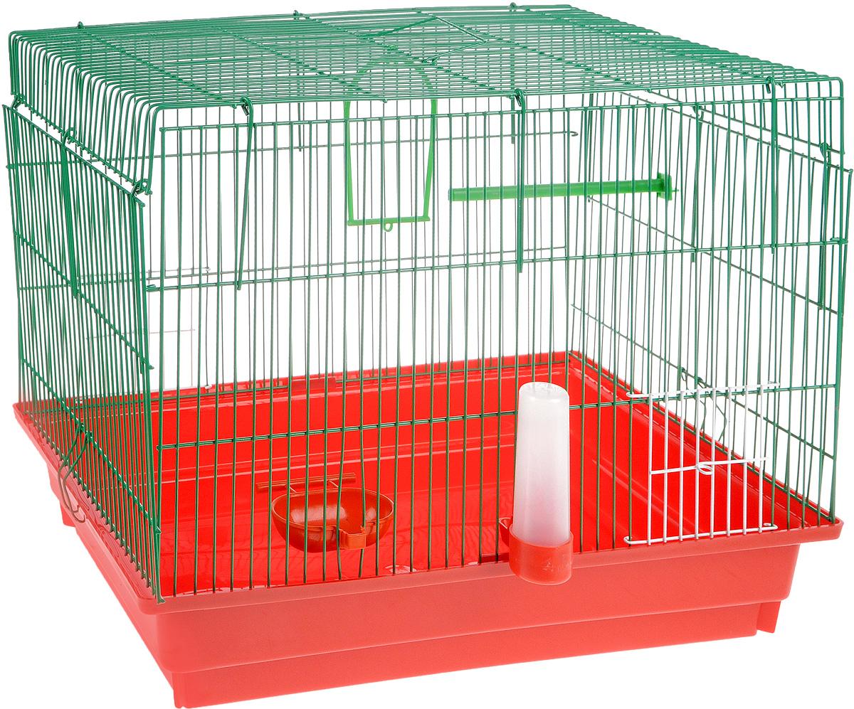 Клетка для птиц  ЗооМарк , цвет: красный поддон, зеленая решетка, 50 х 31 х 41 см