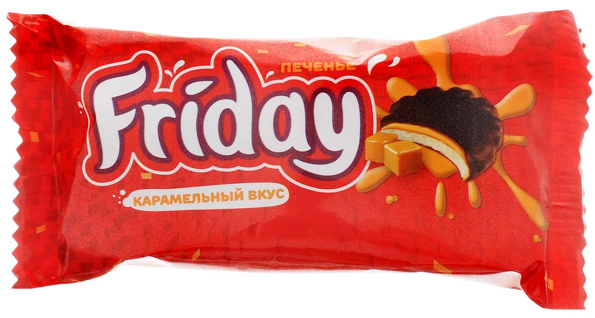 Слодыч Friday печенье глазированное с карамельным вкусом, 63 г слодыч вечерний слодыч сахарный печенье 250 г