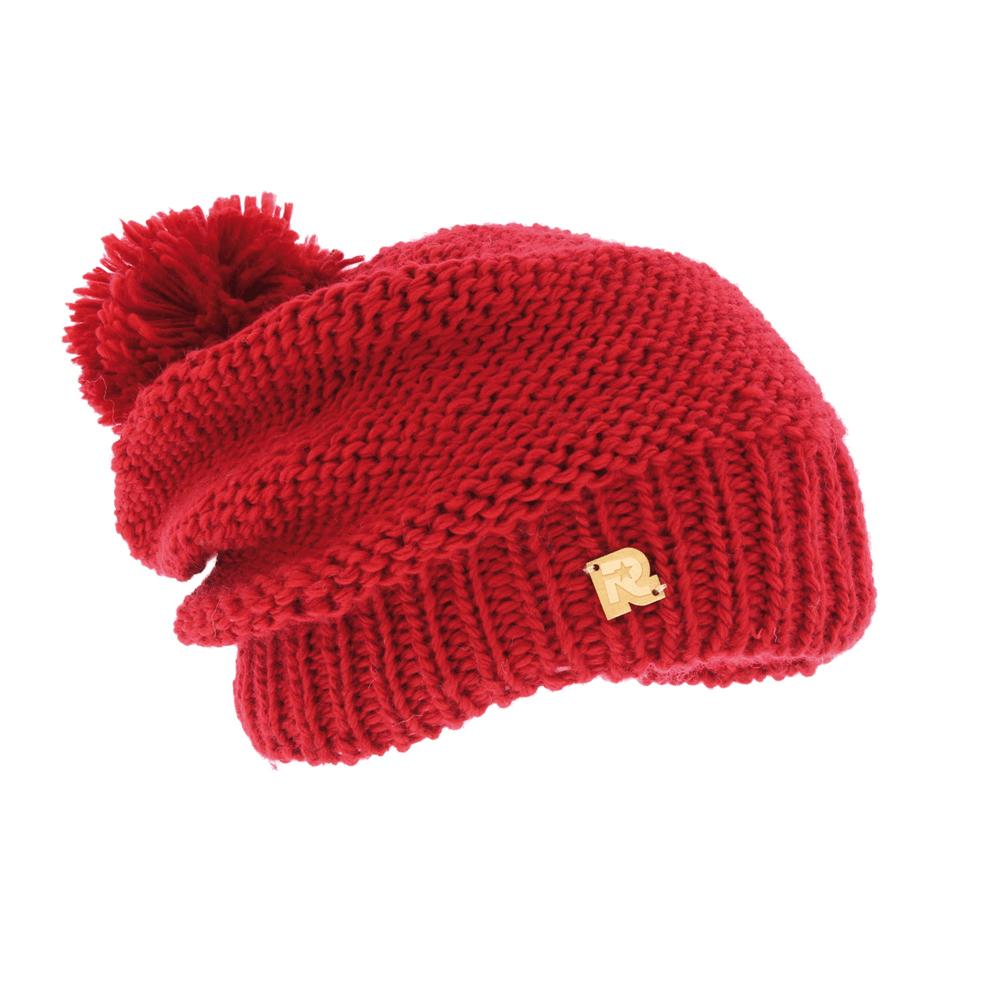 Шапка женская R.Mountain, цвет: красный. ICE 8509. Размер 54/61ICE 8509Теплая вязаная шапка R.Mountain выполнена из акрила и шерсти. Модель оформлена нашивкой в виде логотипа бренда. Шапка дополнена пушистым помпоном. Подкладка полностью выполнена из ворсистого плюша, который обеспечит тепло и комфорт.