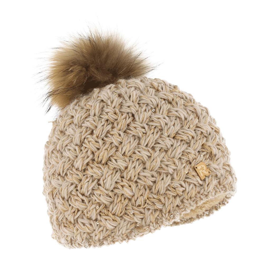 Шапка женская R.Mountain, цвет: бежевый. ICE 8510. Размер 54/61ICE 8510Тёплая вязаная шапка с помпоном из натурального меха. Идеальна для зимних холодов, внутри имеет плюшевую подкладку, для самой комфортной посадки на голову и удобной носки. Фасон шапки придаёт образу своей обладательницы необычайную нежность и женственность, а приятный на ощупь материал дарит ощущение тепла и комфорта. Сочетать этот головной убор можно с любыми цветами гардероба. Помпон выполнен из натурального меха енота.